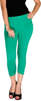 De Moza Viscose Lycra-3/4th Length - Emerald Green Women's Capri