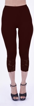 SHYIE Lycra Coffee Brown Women's Premium Quality Plain Lace Women's Brown Capri