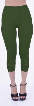 SHYIE Lycra Parrot Green Women's Premium Quality Plain Lace Women's Green Capri