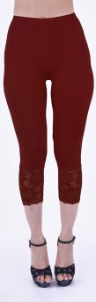 SHYIE Lycra Cherry Red Women's Premium Quality Plain Lace Women's Red Capri
