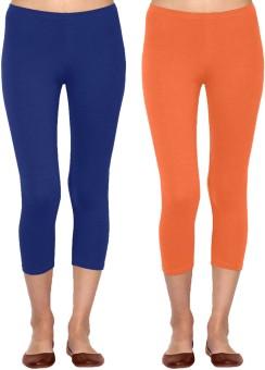 Linking Threads Vetha Women's Blue, Orange Capri
