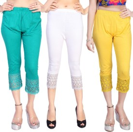 Comix Women's Blue, White, Yellow Capri