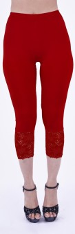 SHYIE Lycra Scarlet Red Women's Premium Quality Plain Lace Women's Red Capri