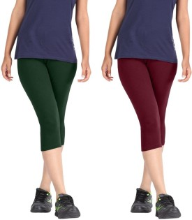 Rooliums Super Fine Cotton Capri Leggings Women's Dark Green, Maroon Capri