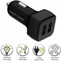 Fospower FosPower (24W / 4.8A Output) Dual Port Rapid USB Car Charger Adapter With WizCharge Technology For IPhone, IPad Air Mini, Car Charger (Black)