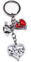 Aditya Traders LOVE STONE FULL METAL HEART KEYCHAIN Key Chain (Silver)