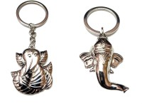 City Choice Combo Of Leaf & Chrome Ganesha Key Chain (Chrome)