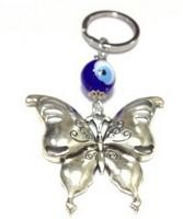 Aura Feng Shui Butterfly Evil Eye Locking Keychain (Silver, Blue)