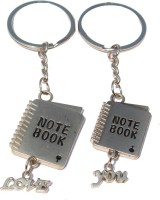 CTW Love You Cute Miny Notebook Couple Keyring Metal Key Chain (Silver)