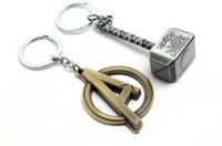 Confident Set 2 Avenger A And Silver Hammer Keychain (Silver, Golden)