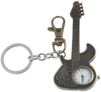 Kairos Designer Guitar Pocket Watch Clock Keychain (Brown)