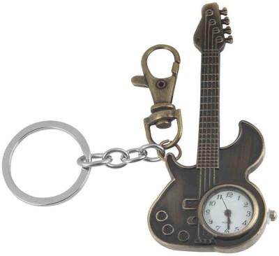Kairos Designer Guitar Pocket Watch Clock Keychain (Brown)