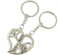 True Traders True Traders Pair Of Love Heart Couple Keychain Key Chain (silver)