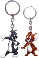 Anishop Tom & Jerry Cute Couple Cartoon Pack Of 2 Keyring Key Chain (Multicolor)