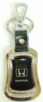 Hiyaa Honda Cars Metal & Leather Key Chain - Black