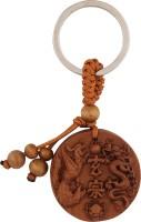 JLT Dragon Phoenix Symbol Feng Shui Wooden Keychain (Brown)