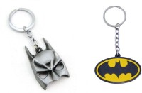 Chainz Batman Metal Mask And Silicon Logo Keychain (Multicolor)