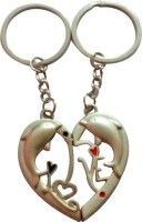 ShopnGift Dolphin Couple Love Key Chain (Silver)