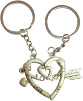 ShopnGift Love You Couple Heart Key Chain (Silver)