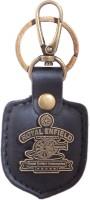Zeroza Royal Enfield Leather Metal RE23 Locking Key Chain (Black)