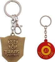 JLT Transformers Golden Plate Metal With Transformers Written Locking Key Chain (Multicolor)