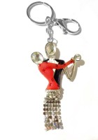 Tech Fashion Big Dancing Couple Red Black Two Stone Locking Key Chain (Red, Black)