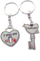Ctw Miss You Love You Heart Lock And Key Key Chain (Silver)