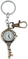 Kairos Designer Key Shaped Pocket Watch Clock Keychain (Brown)