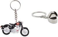 Chainz Royal Enfield Rubber Bike And 3d Metal Helmet (Multicolor)
