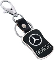 U. R. GOD HQ Mercedes Benz Leather & Metal Car Logo Locking Key Chain (Black)