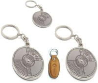 Chevron Compass Date Perpetual With Calendar Up-to 50 Years Combo Set Key Chain (Silver)