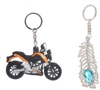 Chainz KTM Duke Bike Shaped Rubber And Oh My God Stone Studded Key Chain (Multicolor)