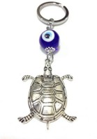 Aura Imported Feng Shui Tortoise Evil Eye Locking Keychain (Blue, White, Silver)