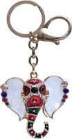 Dealfinity Studded Lord Ganesh Metal DKYCN1568 Locking Key Chain (Multicolor)