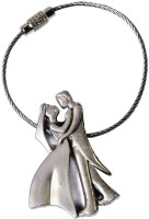 Confident Standing Couples Dancing Key Chain (Silver)