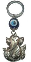 City Choice New Leaf Ganesha With Evil Eye Key Chain (Blue & Chrome)