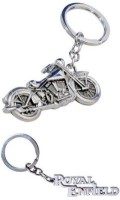Confident 2 Royal Enfield Engraved And Chopper Bike Metal Locking Key Chain (Silver)