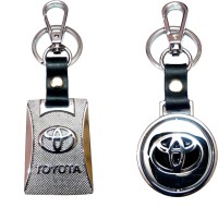 City Choice Combo Of New Revolving & Leather-Metal Hook Locking Key Chain (Multicolor)