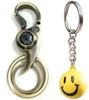 Chainz Double Ring Golden Curved Compass Hook And Smiley Ball Keychain (Multicolor)