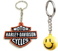 Chainz Harley Davidson Rubber And Smiley Ball Keychain (Multicolor)