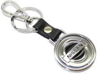 Aura Nissan Metal Revolving Logo Key Chain (Black, Silver)