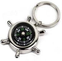 Ample Wings Green Round Metal Compass Round Locking Key Chain (Silver)