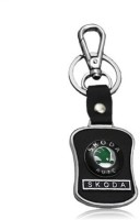 Ezone Black Skoda Leather Metal Locking Key Chain Locking Carabiner (Black)