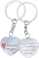 True Traders Valentine Heart Couple Keychain Locking Key Chain (silver)