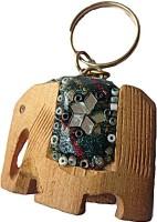 DCS Wooden Elephant Keychain Locking (Multicolour)