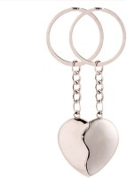 Spotdeal SDL127 Couple Heart Shape Key Chain Key Chain (Silver)