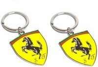 Aura Set Of 2 Imported Ferrari Cars Full Metal Locking Keychain (Yellow, Red, Green, Silver)