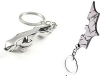 Confident 2 Silver Color Jaguar Car Logo And Batman Metal Key Chain (Silver)