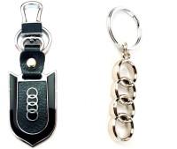 City Choice Audi Combo Leather Metal Hook Locking Key Chain (Chrome & Black)