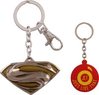 JLT Superman Metal Gold-Silver Premium Locking Key Chain (Multicolor)